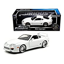 New 1:18 FAST & FURIOUS 7 - BRIAN'S TOYOTA WHITE SUPRA Diecast Model Car By Jada Toys