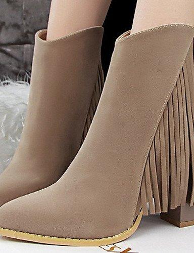 Exterior Zapatos Xzz Uk3 us8 Eu36 La us5 Cn35 Burgundy Eu39 Brown Uk6 Mujer Hueso Casual Bermellón A Tacón Moda Robusto De Negro 5 5 Marrón Botas Caqui Cn39 Terciopelo zdrqwdA