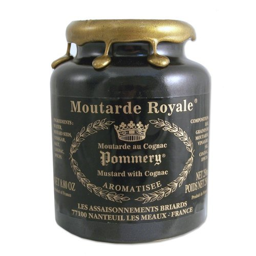 French Whole Grain Royal Mustard flavored with Cognac in a Crock - Moutarde de Meaux - 8.8oz by Pommery