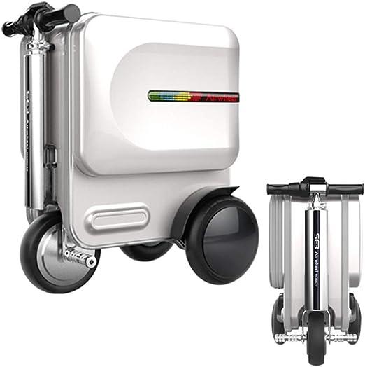 Bicicleta eléctrica de la maleta del viaje, coche elegante eléctrico plegable del equipaje, maleta multifuncional con la cerradura de la contraseña de TSA, para el aeropuerto y la escuela,White: Amazon.es: Hogar