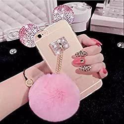 Iphone 7 plus Ear Case,iPhone 8 Plus Case,Fusicase Cute Bling Diamond Sparkle Rhinestone Shiny Crystal Bear/Mouse Ears Rabbit Fur Hair Plush Ball Case For Iphone 7 plus 5.5""