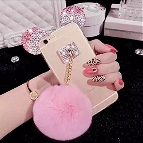 Iphone 7 plus Ear Case,iPhone 8 Plus Case,Fusicase Cute Bling Diamond Sparkle Rhinestone Shiny Crystal Bear/Mouse Ears Rabbit Fur Hair Plush Ball Case For Iphone 7 plus 5.5