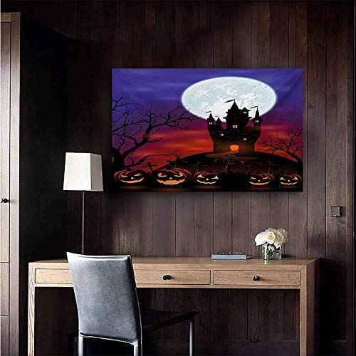 duommhome Halloween Light Luxury American Oil Painting Gothic Haunted House Castle Hill Valley Night Sky October Festival Theme Print Home and Everything 28