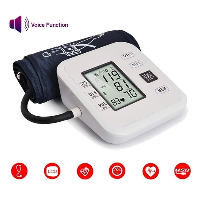 Monitor electrónico Inteligente de presión Arterial Brazo Superior Medidor de presión Arterial Sphygmomanometer Automático Pulsómetro, Full Automático ...