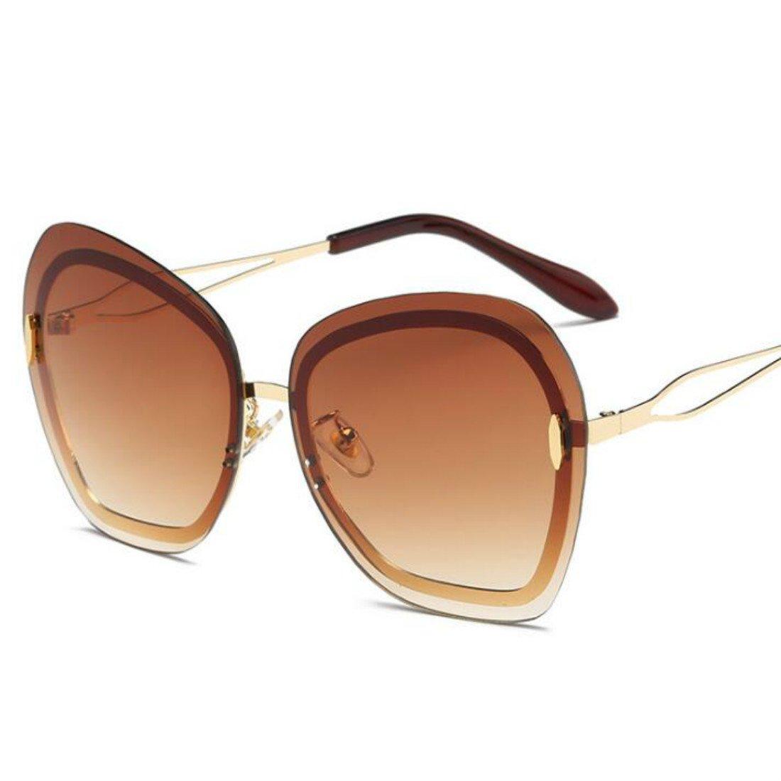 Colygamala Women's Classic Chic Rimless Sunglasses / Metallic Line Accent Oversized Sunglasses 2018012703-t