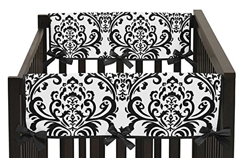 Sweet Jojo Designs 2-Piece Side Rail Guards Teething Protector Baby Girl Crib Cover Wrap for Hot Pink, Black and White Isabella Collection (Crib Collection Bedding Isabella)