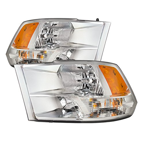 PERDE Chrome Housing Halogen Headlights w/Quad Performance Lens Compatible with Dodge Ram 1500 2500 3500 Ram Includes Left Driver and Right Passenger Side Headlamps ()