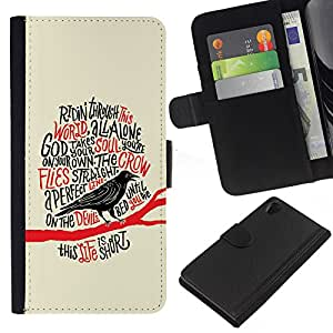 iBinBang / Flip Funda de Cuero Case Cover - Cuervo Cuervo Negro Pájaro Poema Edgar Poe - Sony Xperia Z2 D6502