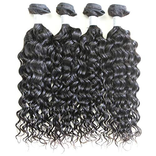 XYHair Brazilian Virgin Water Wave Human Remy Hair Weave Extensions 4 Bundles Wet And Wavy Top Quality 100% Unprocessed natural wave Hair bundles Natural Black (14141616) ()
