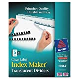 Wholesale CASE of 10 - Avery Unpunched Index Maker Translucent Dividers-Translucent Index Dividers,Label Sht,5-Tab,Unpchd,5set/PK,CL