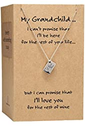 Happy Birthday Granddaughter Necklace Jewelry, Inspiration Quote Card, 16-in to 18-in