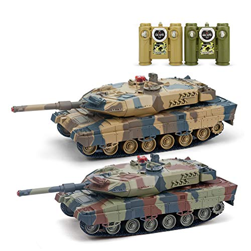 2.4G 1/26 Twin Infrared Battle Tank Set RC Military Car Remote Control Model Toy Gift Vehicle with 360°Rotate Life
