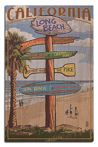 Long Beach, California - Destinations Sign (12x18 Wood Wall Sign, Wall Decor Ready to - Long Shore Belmont California Beach