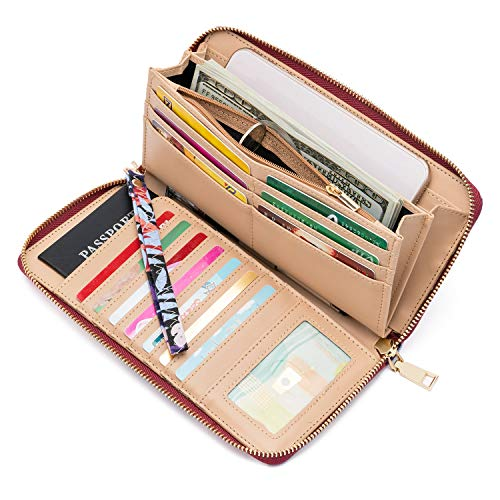 WOZEAH Women's RFID Blocking PU Leather Zip Around Wallet Clutch Large Travel Purse (Color-4)