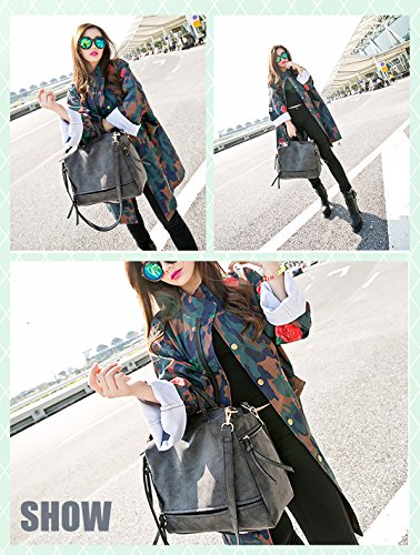 Leather Motorcycle Retro FIGROL Dark Fashion Ladies Bag Women Top Bag Grey Green Handbags Handle Nubuck Satchel Vintage Shoulder Purse 1t1rH7Rwq
