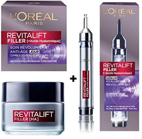 LOréal Pack de 2 productos Revitalift Filler : suero hialurónico ...