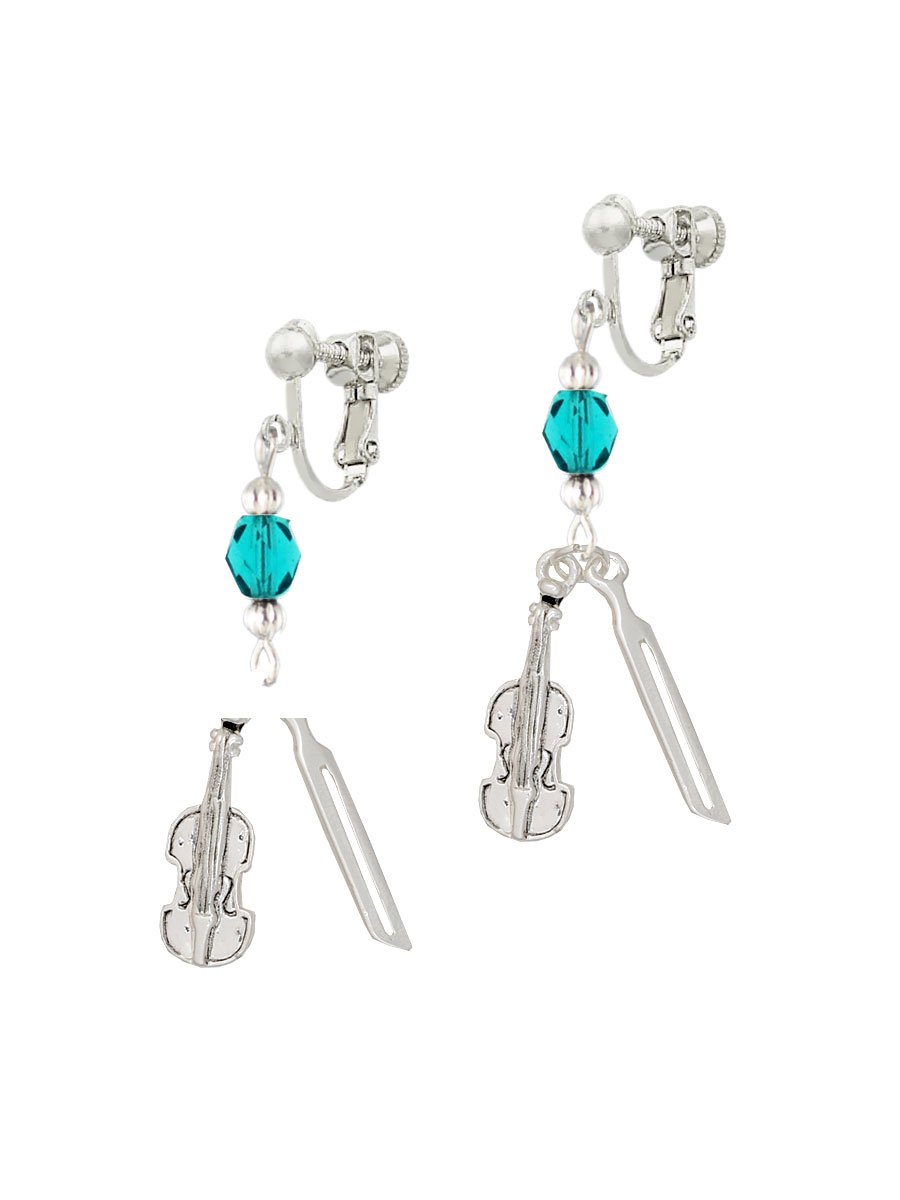 Silvertone Violin and Bow Teal Czech Glass Bead Dangle Clip On Earrings