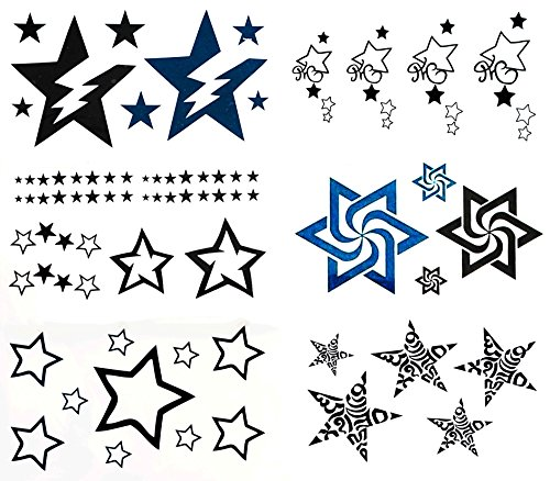 Black and Blue Star Designs Temporary Sticker Body Tattoos Set of 6 Sheets for girls, women, kids, and men size 6cm x 10.5cm Approximately