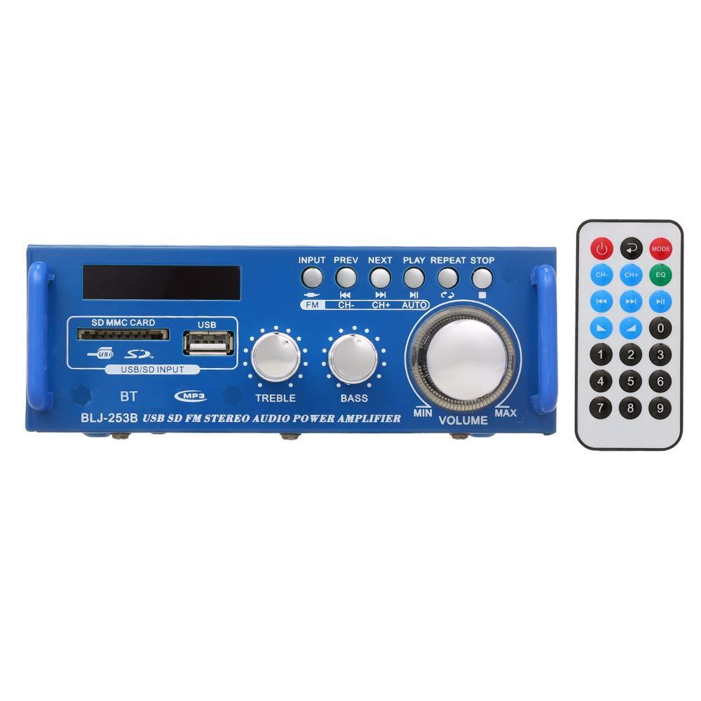 Docooler 12 V 300 W f/ür den Heimgebrauch 220 V Mini-Audio-Leistungsverst/ärker BT Digitaler Audio-Receiver AMP USB SD-Steckplatz MP3-Player FM-Radio LCD-Display mit Fernbedienung Zweikanal 300 W