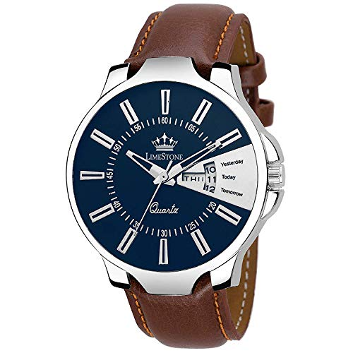 LimeStone Day and Date Functioning Leather Strap Quartz Wrist Watch for Men with Brass Dial