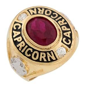 9ct oro Color granate sintético de gran piedra CZ anillo de Capricornio