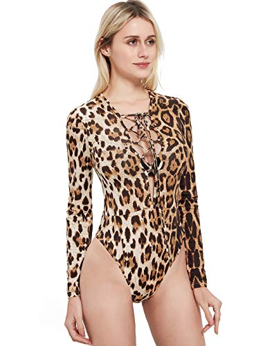 Sweetbei J Womens Long Sleeve V Neck Lace Up Leotard Bodysuit Romper L_Brown L ()