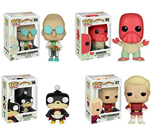 Pop! TV: Futurama Professor Farnsworth, Zoidberg, Nibbler, Zapp Brannigan! Vinyl Figures Set of 4 -