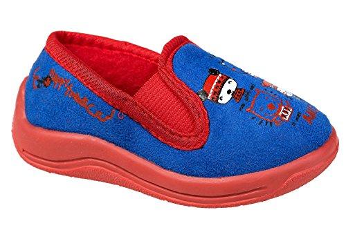 gibra - Zapatillas de estar por casa de tela para niño Azul - Blau/Rot