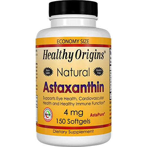 Healthy Origins Astaxanthin (AstaPure) 4 mg, 150 Softgels (Best Astaxanthin Supplement Brand)