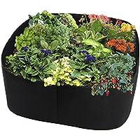 Warooma Cama de jardín de tela rectangular transpirable contenedor de siembra bolsa de cultivo durable flor vegetal…