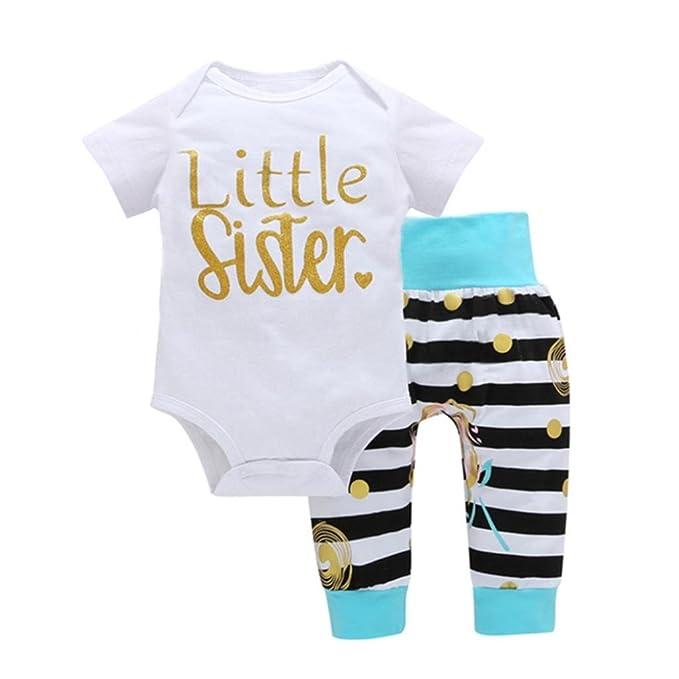 ASHOP Bebé Monos, Mameluco Estampado Little Sister recién Nacido Mono Manga Corta Bodies Ropa Bebe niña Verano Moda Conjunto Bebé + Pantalones