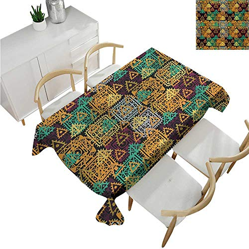 familytaste Modern Art,Tablecovers Rectangular,Folk Aztec Motif with Ornate Triangles and Rounds and Inner Spots Dots Figures,Table Cloth Cover Wedding Event Party 70