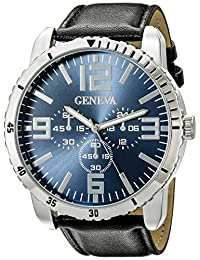 Geneva Men's FMDJM510C Japanese Quartz Watch With Black Leather Band