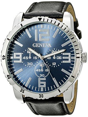 Geneva Black Leather Watch - 3