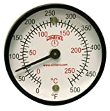 Winters TMT Series Steel Dual scale Surface Magnet Thermometer, 2'' Dial Display, +/-2% Accuracy, 0-500 F/C Range