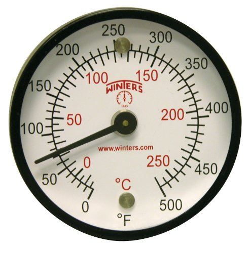 Winters TMT Series Steel Dual scale Surface Magnet Thermometer, 2'' Dial Display, +/-2% Accuracy, 0-500 F/C Range by Winters Instruments