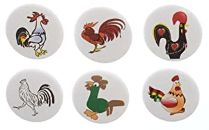 Set of 6 Rooster Themed Magnets - Cute Funny Chicken