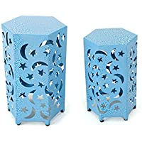 Carusa Indoor 12 and 14 Inch Crackle Blue Iron Moon and Stars Side Tables