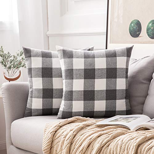 MIULEE Pack of 2 Classic Retro Checkers Plaids Cotton Linen Soft Soild Square Throw Pillow Covers Home Decor Design Cushion Case for Sofa Bedroom Car 20 x 20 Inch 50 x 50 cm