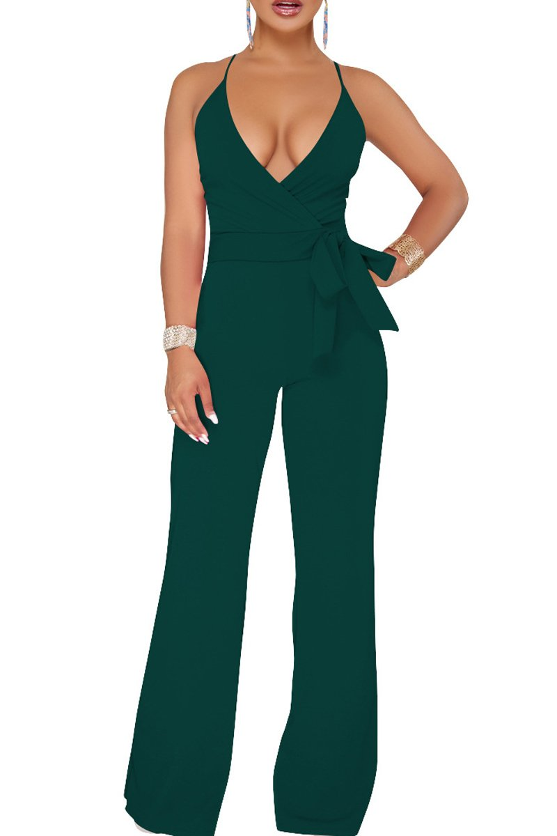 Belypoe Trendy Woman's V Neck Cross Strap Back High Waisted Club Party Jumpsuit M