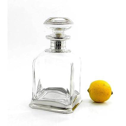 Botella de vidrio soplado y peltre para Whisky Design Minimal