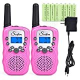 Swiftion Rechargeable Kids Walkie Talkies 22 Channel 0.5W FRS/GMRS 2 Way Radios with Charger and Rechargeable Batteries (Pink, Pack of 2)