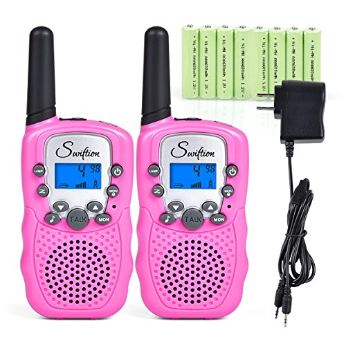 Swiftion Rechargeable Kids Walkie Talkies 22 Channel 0.5W FRS/GMRS 2 Way Radios with Charger and Rechargeable Batteries (Pink, Pack of 2) by Swiftion