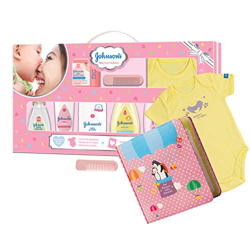 Johnson's Baby Care Collection Baby Gift Set with Organic Cotton Baby Dress and Milestone Book (10 Pieces)