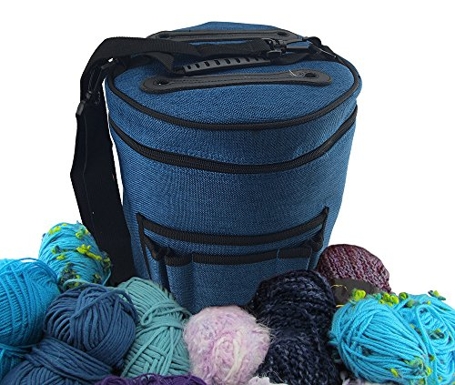 Premium Yarn Storage Tote Bag- Protect and Store Yarn & Stay Organized. Portable and Easy to Carry Knitting Crochet Yarn Holder with Pockets. Slits on Top to Protect Wool and Prevent Tangling. - Gift Baskets For Knitters