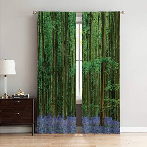 Mozenou for Sliding Glass Door Light Curtain Woodland,Spring Sunshine in a Bluebell Wood Summer Dream Holiday Getaway Destination,Green Lavander W108 x L108 Inch