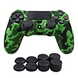 YoRHa Water Transfer Printing Camouflage Silicone Cover Skin Case for Sony PS4/slim/Pro controller x 1(green) With Pro thumb grips x 8 by YorHa