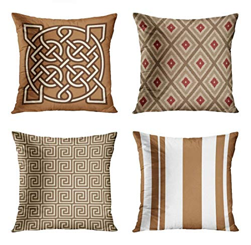 ArtSocket Set of 4 Throw Pillow Covers Coffee Celtic Sailor Knot Camel Tan Cream and Brown Green Indonesian Ikat Decorative Pillow Cases Home Decor Square 18x18 Inches Pillowcases