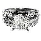 1/2cttw Diamond Bridal Wedding Ring Sterling Silver 9.5mm Wide Vintage (I2/i3)