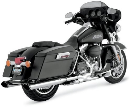 Vance and Hines Twin Slash Oval 4.5in. Chrome Slip-On Exhaust for Harley Davids - 4.5 inches ()